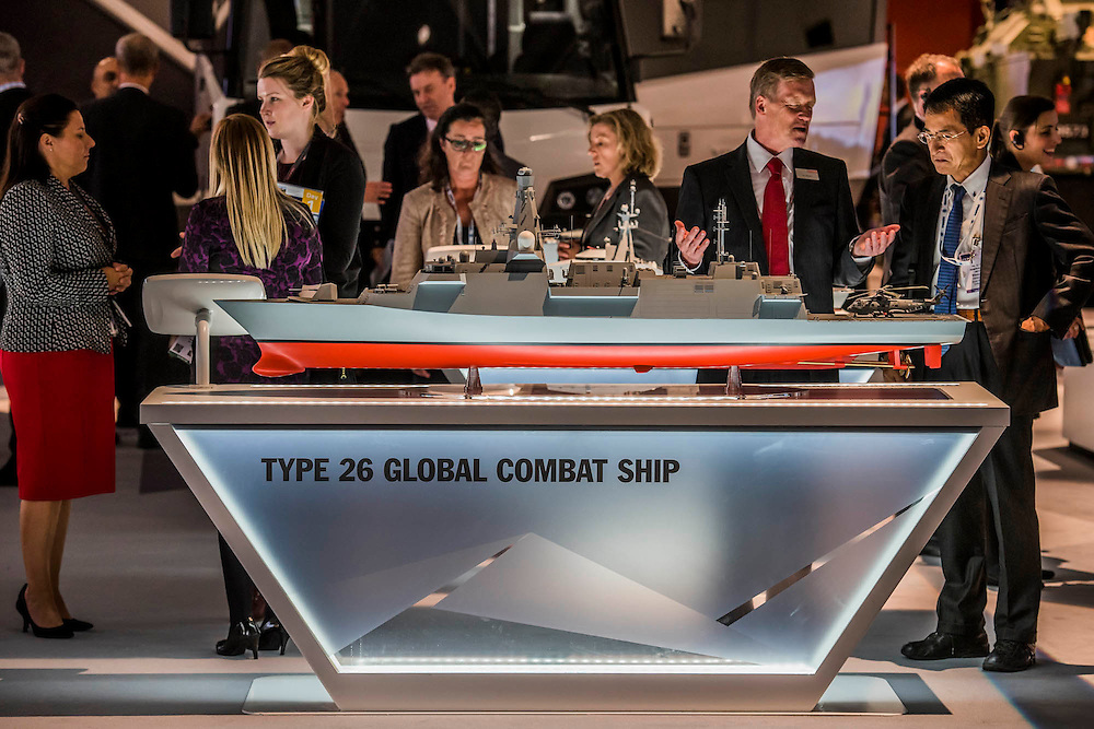 Some of the ships (icl the Type 26 ) made by Bae Systems Stand - The DSEI (Defence and Security Equipment International) exhibition at the Excel Centre, Docklands, London UK 15 Sept 2015