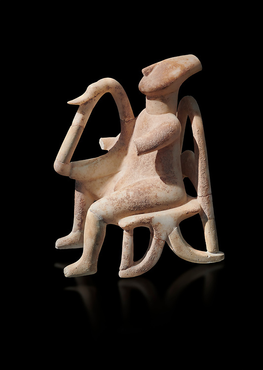 The 'Harpist of Keros' a seated parian marble female Cycladic figurine. Early Cycladic Period II (2800-2300 BC) from Keros, Cat no 3908. National Archaeological Museum, Athens. Black background.<br /> <br /> This elaborate three dimesional Cyladic statue known as the 'Harpist of Keros' depicts a seated figure plaung a harp. Its execution required an experienced workshop that could file away the parian marble with gronze tools. .<br /> <br /> If you prefer to buy from our ALAMY PHOTO LIBRARY  Collection visit : https://www.alamy.com/portfolio/paul-williams-funkystock/cycladic-art-artefacts.html Type into the LOWER SEARCH WITHIN GALLERY box to refine search by adding background colour, place, museum etc<br /> <br /> Visit our CYCLADIC CIVILISATIONS PHOTO COLLECTIONS for more photos to download or buy as wall art prints https://funkystock.photoshelter.com/gallery-collection/Cycladic-civilisation-Ancient-Greek-Artefacts-art-Photos-Pictures-Images/C0000CmevVvnC.XU