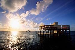 Stiltsville at sunrise, Biscayne National Park, Miami, Florida, USA, Atlantic Ocean