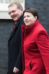 Downing Street, London, February 9th 2016.  Scottish Secretary David Mundell and leader of  the Conservative Party in Scotland  Ruth Davidson arrive in Downing Street for the weekly cabinet meeting. ///FOR LICENCING CONTACT: paul@pauldaveycreative.co.uk TEL:+44 (0) 7966 016 296 or +44 (0) 20 8969 6875. ©2015 Paul R Davey. All rights reserved.