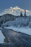Mount Shuksan seen from the Noocksack River valley in winter, North Cascades Washington