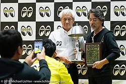 Chico Kodama gives his Mooneyes award at the 27th Annual Mooneyes Yokohama Hot Rod Custom Show 2018. Yokohama, Japan. Sunday, December 2, 2018. Photography ©2018 Michael Lichter.
