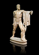 2nd century AD Roman marble sculpture of Harmodius  from the Tyrannicide group,  a Roman copy of an early classical period Geek original, inv 6009, Museum of Archaeology, Italy ..<br /> <br /> If you prefer to buy from our ALAMY STOCK LIBRARY page at https://www.alamy.com/portfolio/paul-williams-funkystock/greco-roman-sculptures.html . Type -    Naples    - into LOWER SEARCH WITHIN GALLERY box - Refine search by adding a subject, place, background colour, etc.<br /> <br /> Visit our ROMAN WORLD PHOTO COLLECTIONS for more photos to download or buy as wall art prints https://funkystock.photoshelter.com/gallery-collection/The-Romans-Art-Artefacts-Antiquities-Historic-Sites-Pictures-Images/C0000r2uLJJo9_s0