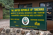 Ngorongoro Crater Entrance Sign, Ngorongoro Conservation Area, Tanzania