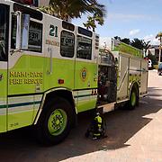 Vakantie Miami Amerika, brandweerwagen, ladderwagen engine 21
