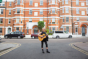 Nikki, a street musician on the 23rd June 2018 in Brixton in the United Kingdom.