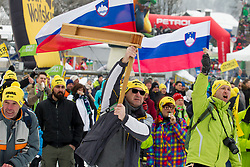 Supporters of Hadalin during 1st run of Men's Slalom race of FIS Alpine Ski World Cup 57th Vitranc Cup 2018, on March 4, 2018 in Kranjska Gora, Slovenia. Photo by Urban Urbanc / Sportida