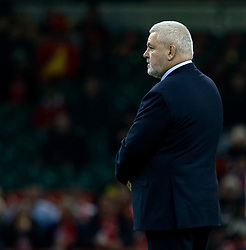 Head Coach Warren Gatland of Wales during the pre match warm up<br /> <br /> Photographer Simon King/Replay Images<br /> <br /> Under Armour Series - Wales v Tonga - Saturday 17th November 2018 - Principality Stadium - Cardiff<br /> <br /> World Copyright © Replay Images . All rights reserved. info@replayimages.co.uk - http://replayimages.co.uk