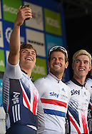 Great Britain team take a selfie before  the Tour of Britain 2016 stage 8 , London, United Kingdom on 11 September 2016. Photo by Martin Cole.