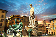 The Fountain of Neptune by Bartolomeo Ammannati (1575),  Piazza della Signoria in Florence, Italy, .<br /> <br /> Visit our ITALY PHOTO COLLECTION for more   photos of Italy to download or buy as prints https://funkystock.photoshelter.com/gallery-collection/2b-Pictures-Images-of-Italy-Photos-of-Italian-Historic-Landmark-Sites/C0000qxA2zGFjd_k<br /> .<br /> <br /> Visit our EARLY MODERN ERA HISTORICAL PLACES PHOTO COLLECTIONS for more photos to buy as wall art prints https://funkystock.photoshelter.com/gallery-collection/Modern-Era-Historic-Places-Art-Artefact-Antiquities-Picture-Images-of/C00002pOjgcLacqI