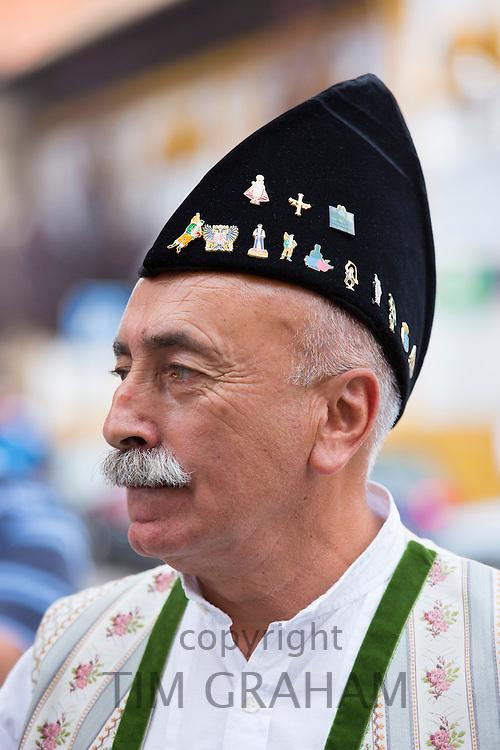 Spanish man attending traditional fiesta at Villaviciosa in Asturias, Northern Spain