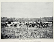 """FIFTY-5EVENTH NEW YORK INFANTRY, Removing Wounded after the Battle near Weldon Railroad, August, 1864, from The American Civil War book and Grant album : """"art immortelles"""" : a portfolio of half-tone reproductions from rare and costly photographs designed to perpetuate the memory of General Ulysses S. Grant, depicting scenes and incidents in connection with the Civil War Published  in Boston and New York by W. H. Allen in 1894"""