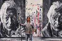 France, Côte-d'Or (21), Paysage culturel des climats de Bourgogne classés Patrimoine Mondial de l'UNESCO, Dijon, l'artiste peintre  Yan Pei-Ming dans son atelier // France, Burgundy, Côte-d'Or, Dijon, Unesco world heritage site, Yan Pei-Ming