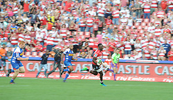 070418 Emirates Airlines Park, Ellis Park, Johannesburg, South Africa. Super Rugby. Lions vs Stormers. Madosh Tambwe sprint on his way to scoring one of four tries.<br />Picture: Karen Sandison/African News Agency (ANA)