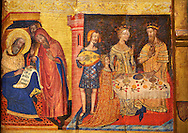 Gothic painted Panel Altarpiece of the Saints John by  Master of Santa Coloma de Queralt. Tempera and gold leaf on wood. Circa 1356. 220.5 x 209.8 x 11.5 cm. From the church of Sant Miquel de Tamarit de Llitera (Huesca). National Museum of Catalan Art, Barcelona, Spain, inv no: 004351-CJT .<br /> <br /> If you prefer you can also buy from our ALAMY PHOTO LIBRARY  Collection visit : https://www.alamy.com/portfolio/paul-williams-funkystock/gothic-art-antiquities.html  Type -     MANAC    - into the LOWER SEARCH WITHIN GALLERY box. Refine search by adding background colour, place, museum etc<br /> <br /> Visit our MEDIEVAL GOTHIC ART PHOTO COLLECTIONS for more   photos  to download or buy as prints https://funkystock.photoshelter.com/gallery-collection/Medieval-Gothic-Art-Antiquities-Historic-Sites-Pictures-Images-of/C0000gZ8POl_DCqE