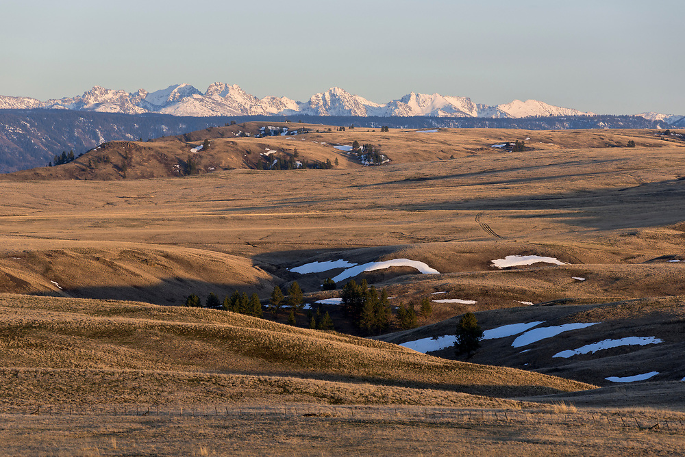 Late winter/early spring on Oregon's Zumwalt Prairie.  The Seven Devils Mountains of Idaho are in the background.