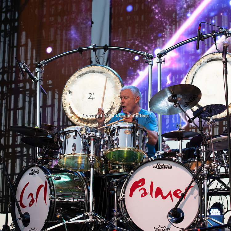 CARL PALMER of Asia at Five Point Amphitheater in Irvine, California.