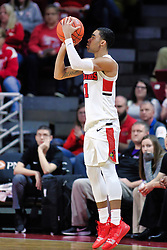 NORMAL, IL - January 05: Josh Jefferson from 3 poknt range during a college basketball game between the ISU Redbirds and the University of Evansville Purple Aces on January 05 2019 at Redbird Arena in Normal, IL. (Photo by Alan Look)