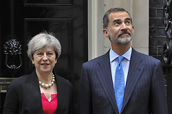 July 13, 2017 - London, UK - London, UK. King Felipe V1 of Spain, on a State Visit to the UK, arrives at Downing Street for bilateral talks with Theresa May, Prime Minister. (Credit Image: © Stephen Chung/London News Pictures via ZUMA Wire)