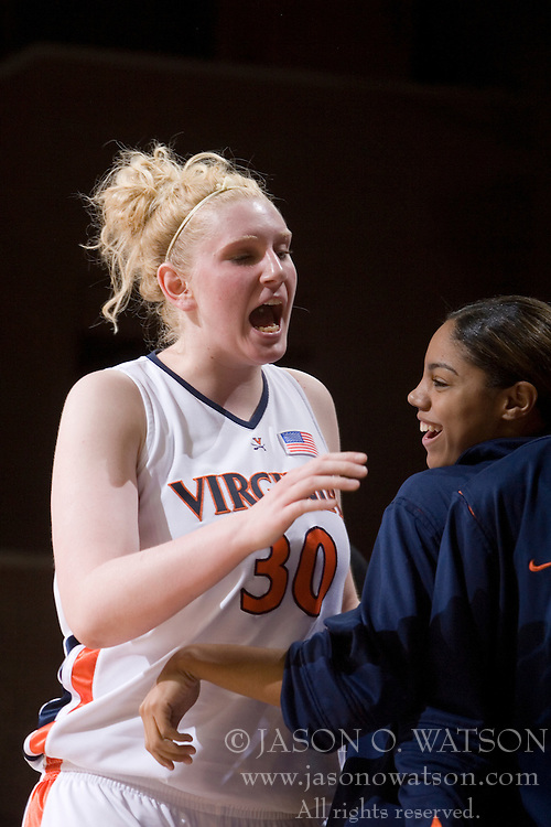 Virginia Cavaliers Forward/Center Abby Robertson (30) motivates her teammates on the UVA bench in the second half.  The Virginia Cavaliers women's basketball team defeated The University of North Carolina - Charlotte 49ers 74-72 in the 2nd round of the Women's NIT at John Paul Jones Arena in Charlottesville, VA on March 19, 2007.