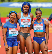 3rd placed Shelly-Ann FRASER-PRYCE of Jamaica, 1st placed Shaunae MILLER-UIBO of Bahamas and 2nd placed Dina ASHER-SMITH of Great Britain & NI after the Women's 200m during the Muller Grand Prix at Alexander Stadium, Birmingham, United Kingdom on 18 August 2019.