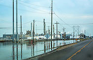 Floodwater next to the Honeywell chemical plant in Geismar, Louisiana following the 1000-year flood.