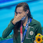 TOKYO, JAPAN - JULY 30:   Tatjana. Schoenmaker of South Africais overcome with emotion after the medal ceremony after breaking the world record while winning the gold medal in the 200m breaststroke for women during the Swimming Finals at the Tokyo Aquatic Centre at the Tokyo 2020 Summer Olympic Games on July 30, 2021 in Tokyo, Japan. (Photo by Tim Clayton/Corbis via Getty Images)
