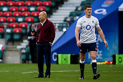 England head coach Eddie Jones and Owen Farrell of England walk away from each other - Mandatory by-line: Robbie Stephenson/JMP - 21/11/2020 - RUGBY - Twickenham Stadium - London, England - England v Ireland - Autumn Nations Cup