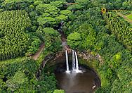 Aerial view of Wailua Falls in Kauai, Hawaii, USA
