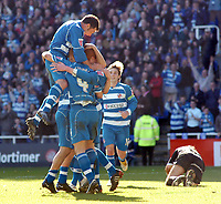 Photo: Kevin Poolman.<br />Reading v Derby County. Coca Cola Championship. 01/04/2006. Reading players celebrate their first goal.