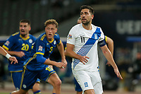ATHENS, GREECE - OCTOBER 14: Tasos Bakasetasof Greece feels disapointed after missing a penalty kick during the UEFA Nations League group stage match between Greece and Kosovo at OACA Spyros Louis on October 14, 2020 in Athens, Greece. (Photo by MB Media)