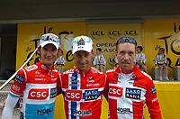 Sykkel<br /> Tour de France 2008<br /> Foto: imago/Digitalsport<br /> NORWAY ONLY<br /> <br /> 09.07.2008<br /> <br /> v.li.: Fränk Schleck (Luxemburg), Kurt Asle Arvesen (Norwegen) und Nicki Sörensen (Dänemark / alle CSC)
