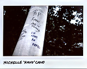 """A message is written on a post for Michelle """"Kano"""" Cano, 21-year-old, in the 4700 block of South Fairfield Avenue in Chicago in this photo taken September 17, 2017. Cano was shot to death, along with three others, while sitting in a car on September 15, 2017."""
