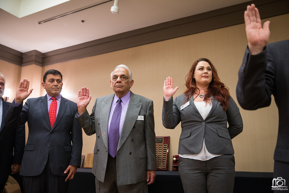 The new Board of Directors are sworn in by Mayor Jose Esteves during the Milpitas Chamber of Commerce 59th Annual Awards and Installation Banquet at Sheraton San Jose Hotel in Milpitas, California, on July 28, 2016. (Stan Olszewski/SOSKIphoto)
