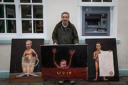 © Licensed to London News Pictures . 19/11/2014 . Kent , UK . Political artist KAYA MAR with a portrait of David Cameron drowning in a red sea of UKIP , alongside portraits of Nigel Farage and Ed Miliband , on Market Street , Rochester , this morning (19th November 2014) . The Rochester and Strood by-election campaign following the defection of sitting MP Mark Reckless from Conservative to UKIP . Photo credit : Joel Goodman/LNP