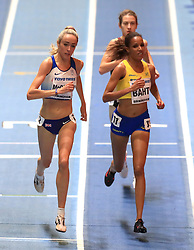 Great Britain's Eilish McColgan (left) in action during the Women's 3000m final during day one of the 2018 IAAF Indoor World Championships at The Arena Birmingham, Birmingham.