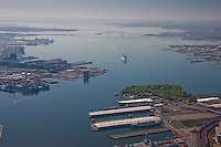 Aerial of NLP and Fort McHenry with Carnival Pride approaching from Key Bridge