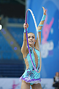 Chalopin Lucille during qualifying at hoop in Pesaro World Cup at Adriatic Arena on April 26, 2013. Lucille is a French individual rhythmic gymnast was born on 4 March 1996 in Paris.