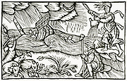 'Witch raising a storm which is wrecking a ship and drowning sailors. Woodcut from ''Historia de gentibus septentrionalibus'', Antwerp, 1562, by Olaus Magnus.'