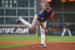 March 26, 2018 - Houston, TX, U.S. - HOUSTON, TX - MARCH 26: Houston Astros pitcher Lance McCullers Jr. (43) delivers a pitch during the game between the Milwaukee Brewers and Houston Astros at Minute Maid Park on March 26, 2018 in Houston, Texas. (Photo by Ken Murray/Icon Sportswire) (Credit Image: © Ken Murray/Icon SMI via ZUMA Press)