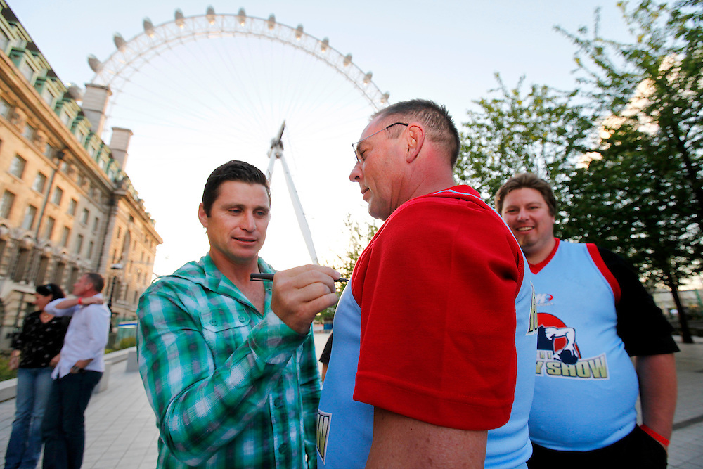 The Footy Show's Shane Crawford at Carlton Draught competition finale, London