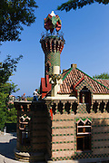 Tourists at El Capricho de Gaudi (The Caprice Villa Quijano) and Belvedere Tower at Comillas in Cantabria, Northern Spain