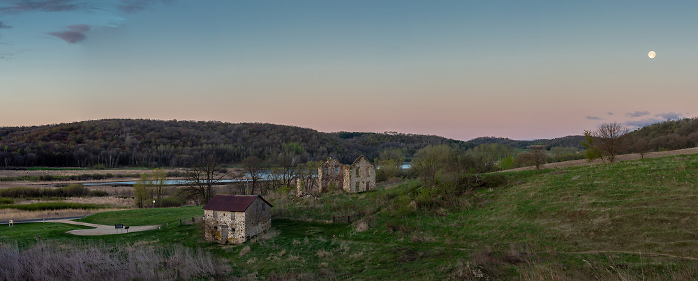 May Flower Moon, the last of three 2020 supermoons, over Indian Lake County Park and Matz Farmstead Ruins. Photo taken the morning May 8.