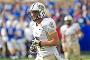 Dec 1, 2012; Tulsa, Ok, USA; University of Central Florida Knights wide receiver Rob Calabrese (4) runs off the field during a game against the Tulsa Hurricanes at Skelly Field at H.A. Chapman Stadium. Tulsa defeated UCF 33-27 in overtime to win the CUSA Championship. Mandatory Credit: Beth Hall-USA TODAY Sports