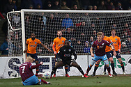 Scunthorpe United forward Luke Williams (7) shoots at goal during the EFL Sky Bet League 1 match between Scunthorpe United and Oldham Athletic at Glanford Park, Scunthorpe, England on 3 March 2018. Picture by Mick Atkins.