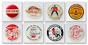 A collection of Wisconsin homecoming buttons. (Photo © Andy Manis)