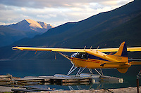 DeHavilland Beaver C-GUDK resting for the night on Muncho Lake, BC.  This beautiful aircraft no longer exists.