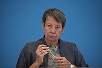 DEU, Deutschland, Germany, Berlin, 12.08.2015: Bundesumweltministerin Dr. Barbara Hendricks (SPD) in der Bundespressekonferenz anlässlich der Vorstellung des Nationalen Entsorgungsprogramms für abgebrannte Brennelemente und radioaktive Abfälle.