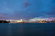 Sydney harbour image night with Sydney harbour bridge and Sydney Opera House