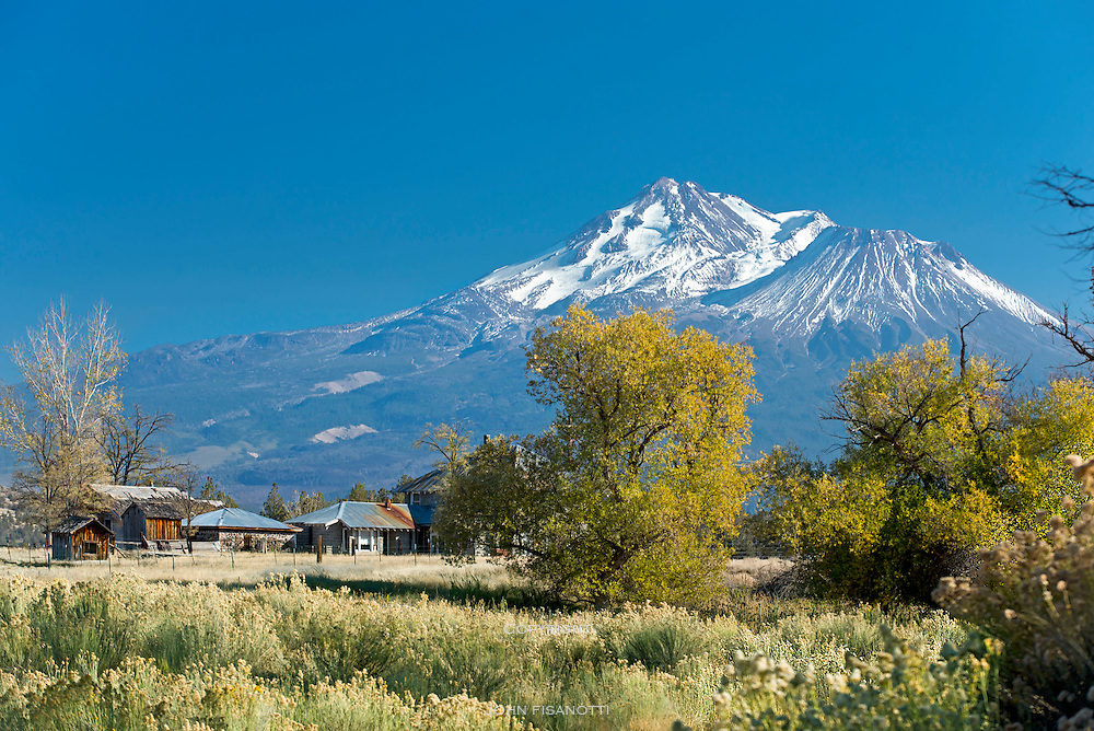 Big Springs Ranch with Mt Shasta in the background.